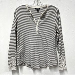 Chaps Lace Sleeve Henley L